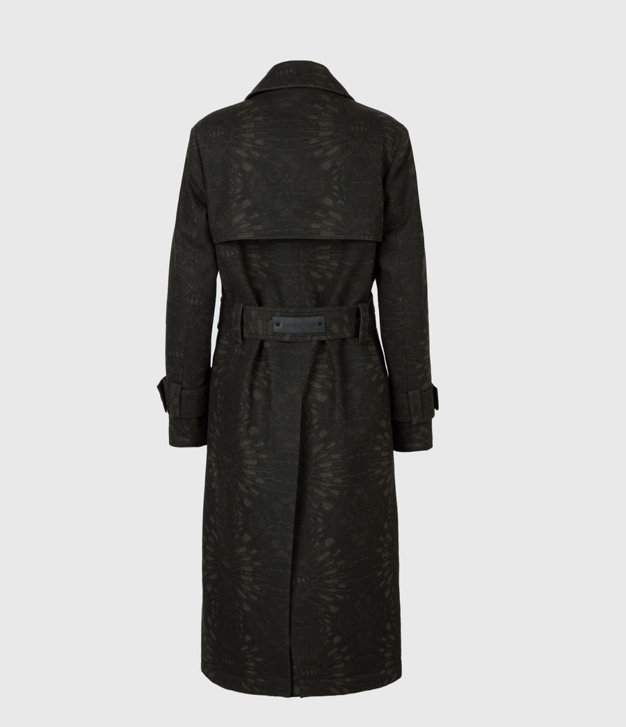 Womens Travis Wool Blend Trench Coat (khaki_green) - Image 3