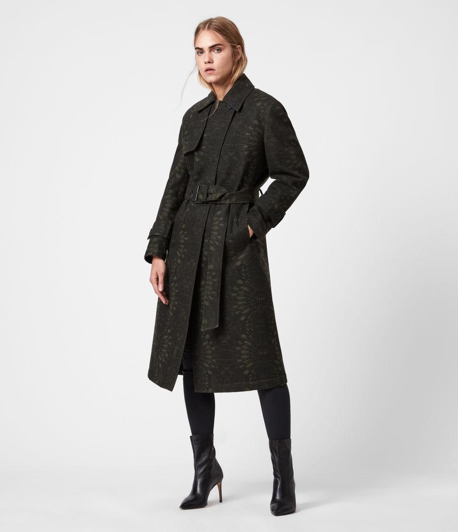 Womens Travis Wool Blend Trench Coat (khaki_green) - Image 4