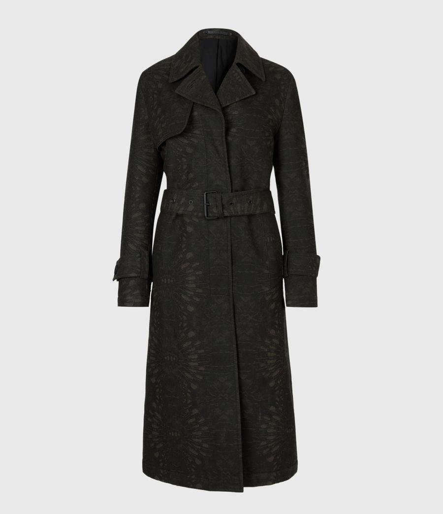 Womens Travis Wool Blend Trench Coat (khaki_green) - Image 5