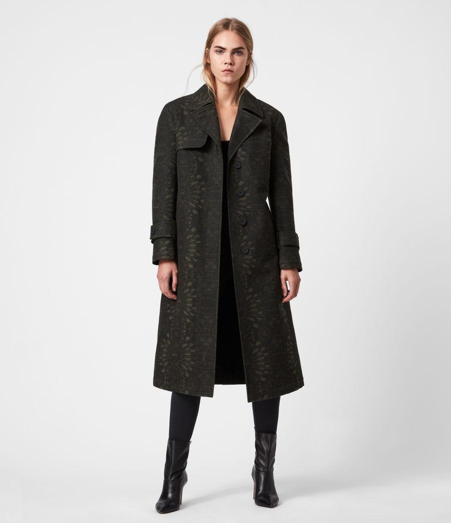 Womens Travis Wool Blend Trench Coat (khaki_green) - Image 7