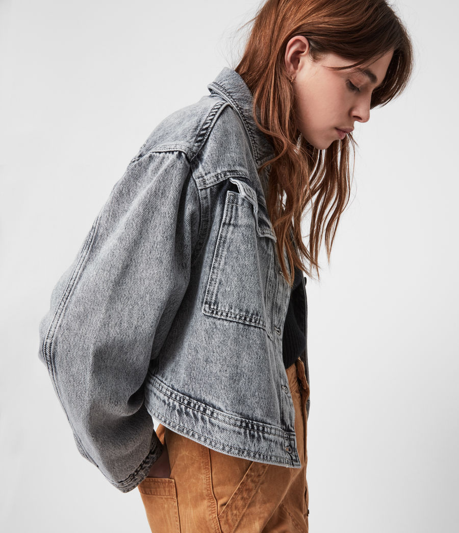 Femmes Lennon Cropped Denim Jacket (snow_wash_grey) - Image 1