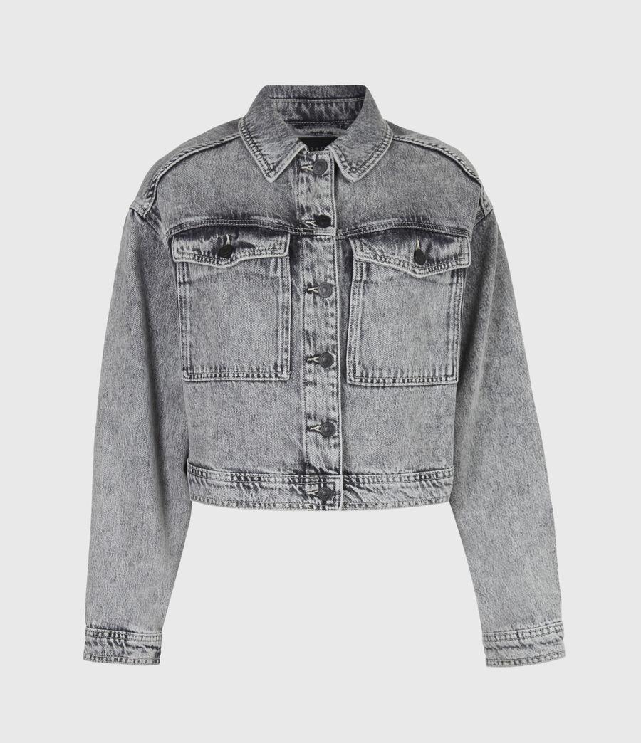 Femmes Lennon Cropped Denim Jacket (snow_wash_grey) - Image 2