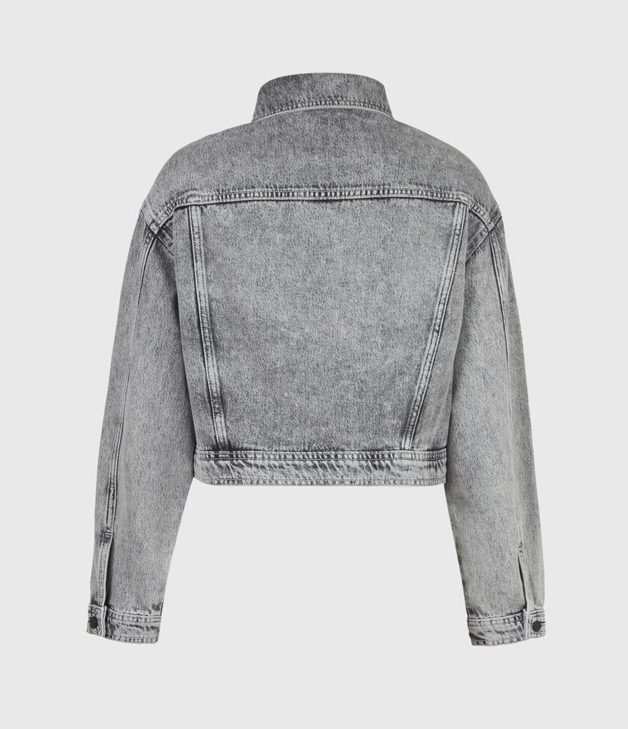Femmes Lennon Cropped Denim Jacket (snow_wash_grey) - Image 3