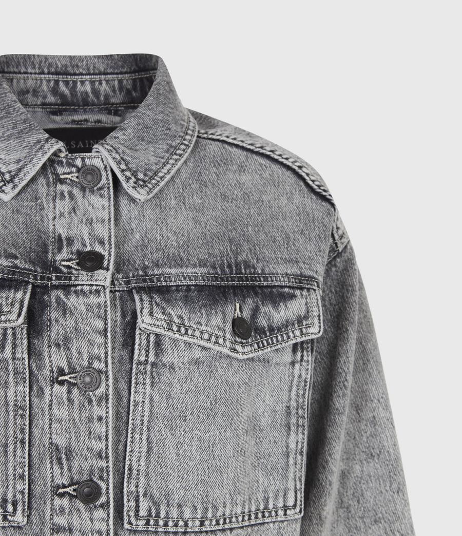 Femmes Lennon Cropped Denim Jacket (snow_wash_grey) - Image 5