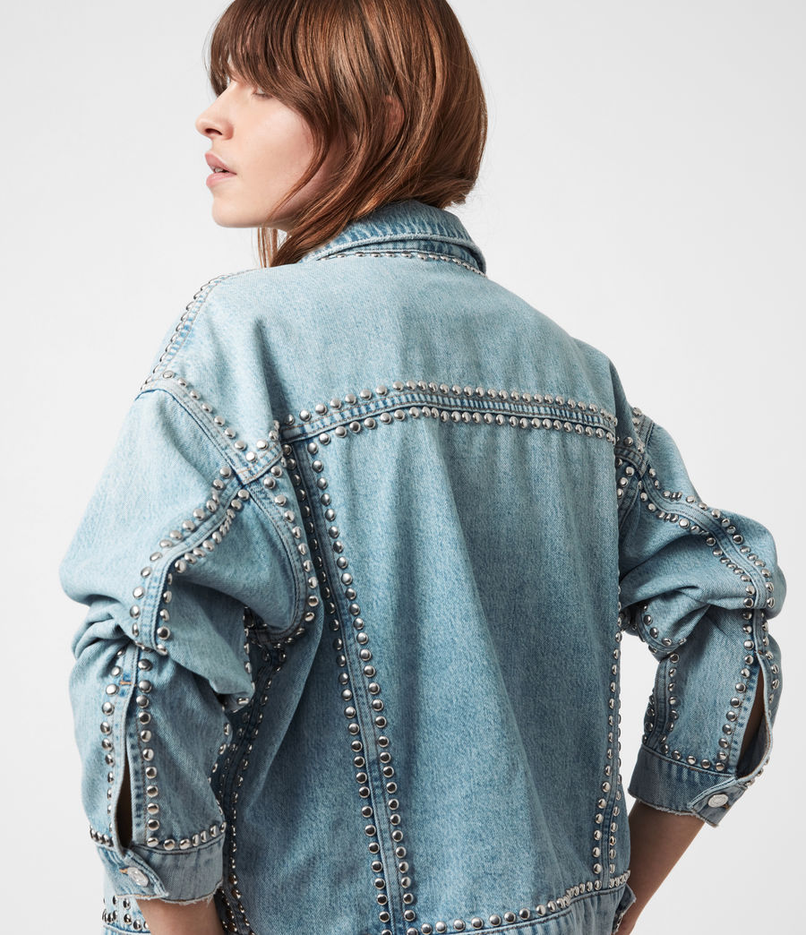 Women's Bella Studded Denim Jacket (vintage_indigo) - Image 1