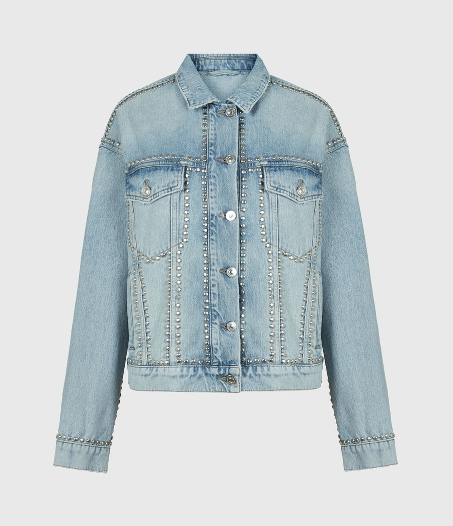 Women's Bella Studded Denim Jacket (vintage_indigo) - Image 2