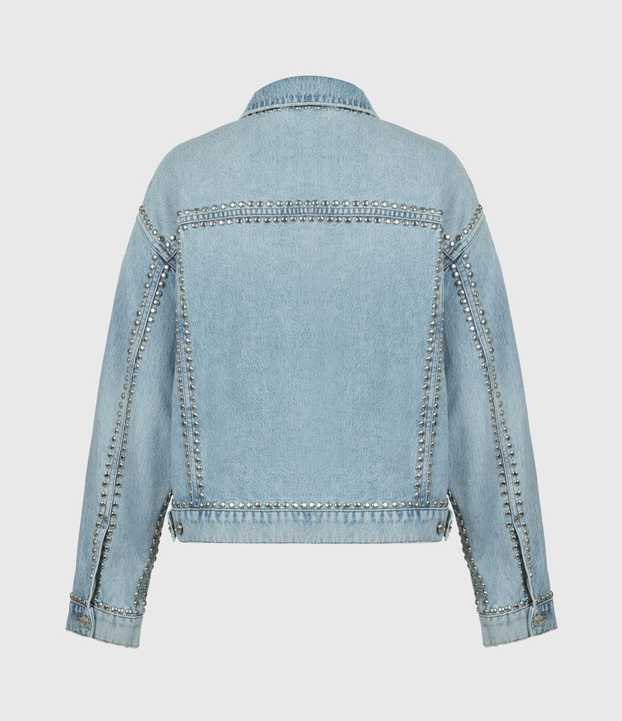 Women's Bella Studded Denim Jacket (vintage_indigo) - Image 3