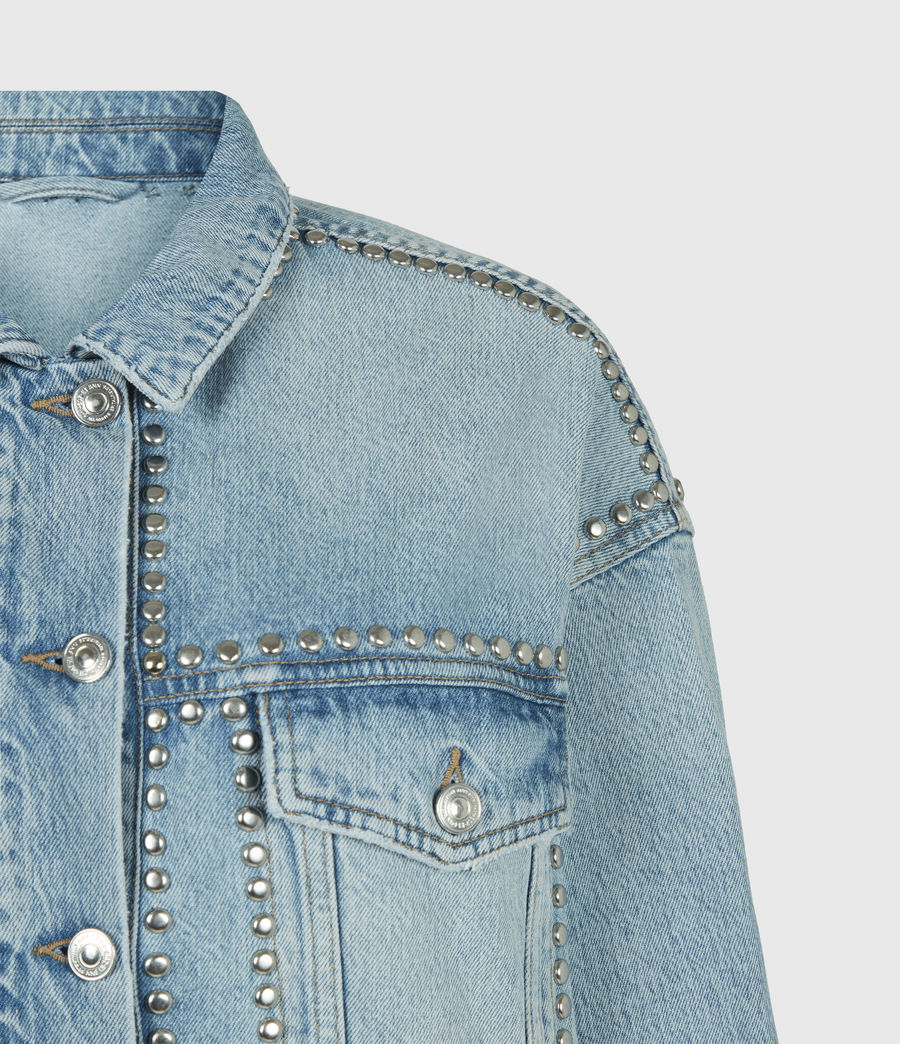 Women's Bella Studded Denim Jacket (vintage_indigo) - Image 5