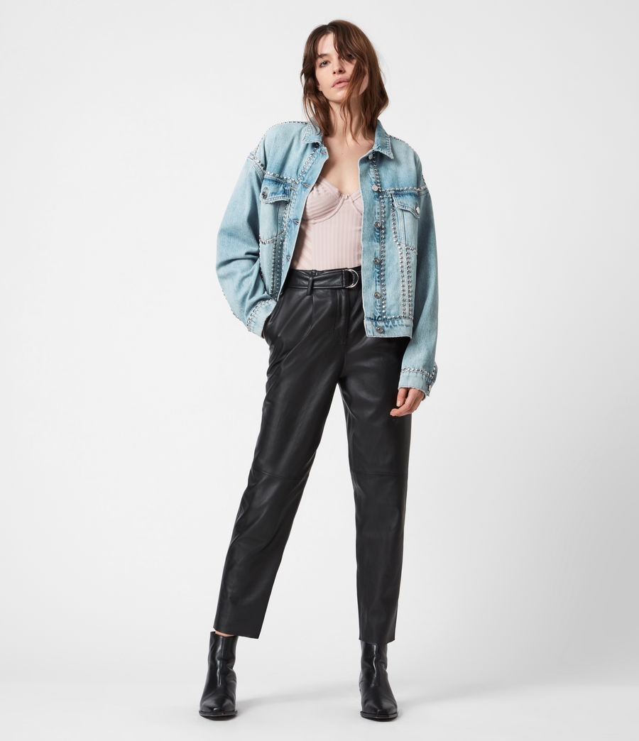 Women's Bella Studded Denim Jacket (vintage_indigo) - Image 7