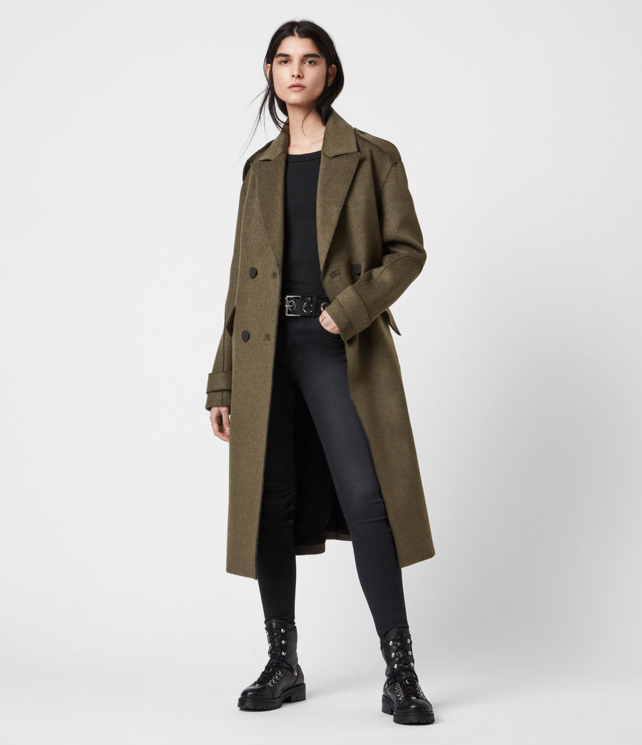 Women's Rene Wool Blend Coat (khaki_green) - Image 1