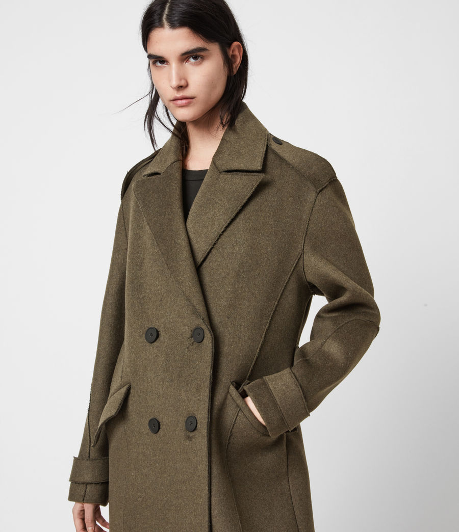 Women's Rene Wool Blend Coat (khaki_green) - Image 4
