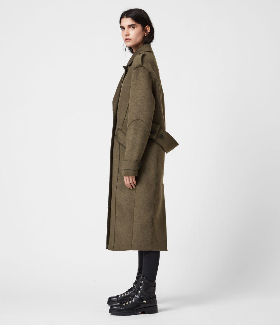 Women's Rene Wool Blend Coat (khaki_green) - Image 8
