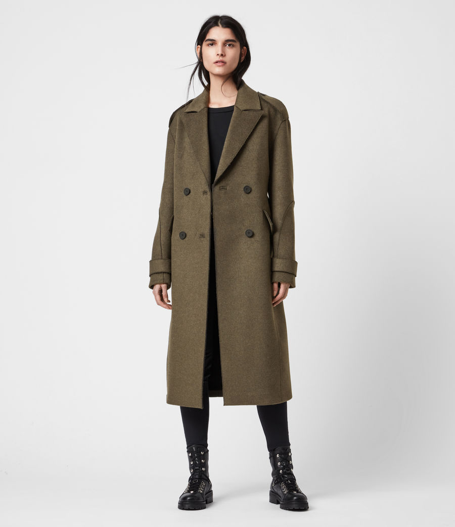 Women's Rene Wool Blend Coat (khaki_green) - Image 9