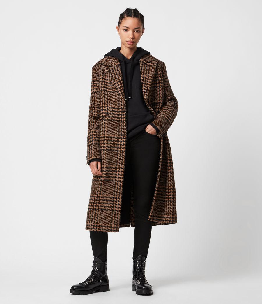 Womens Jette Wool Blend Check Coat (brown_black) - Image 1
