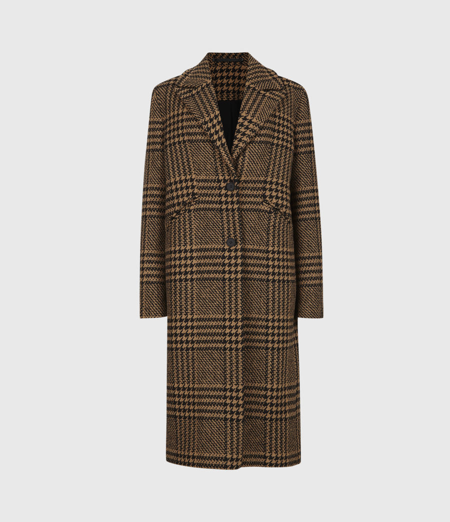Womens Jette Wool Blend Check Coat (brown_black) - Image 2