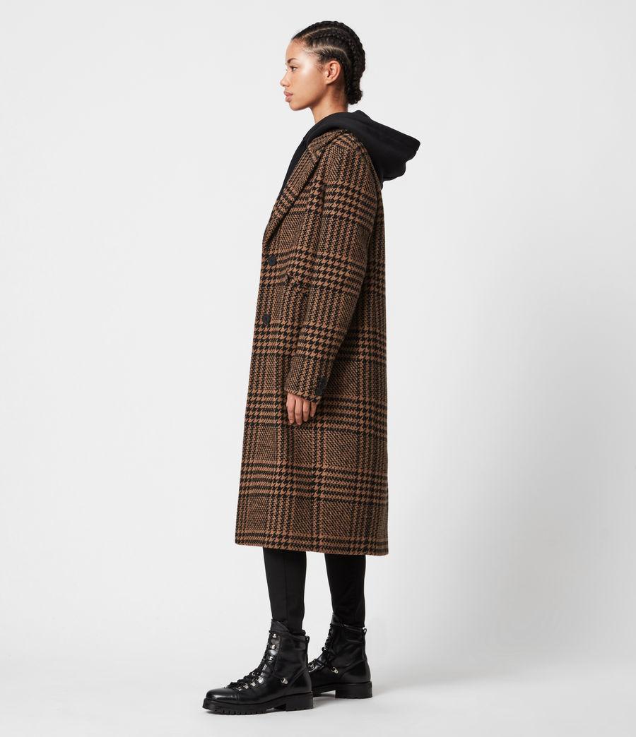 Womens Jette Wool Blend Check Coat (brown_black) - Image 4