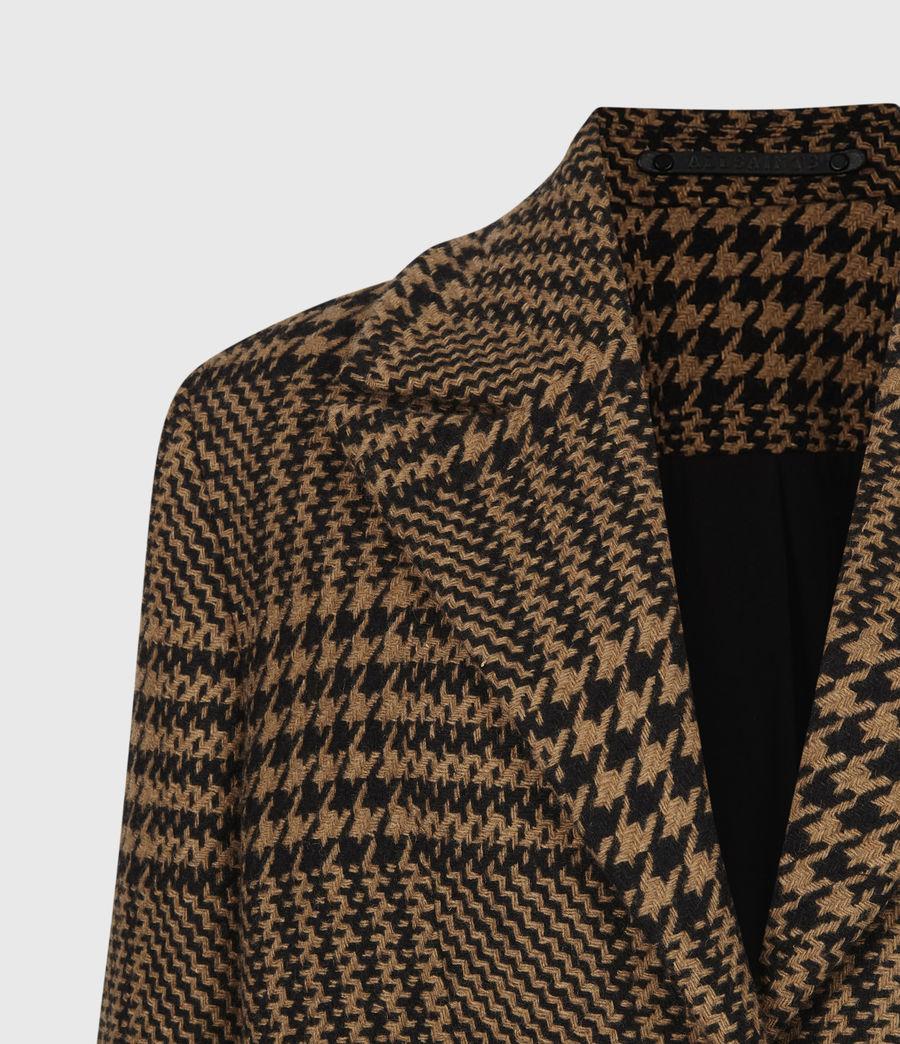 Womens Jette Wool Blend Check Coat (brown_black) - Image 5