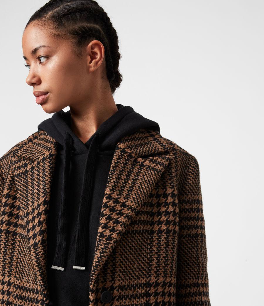 Womens Jette Wool Blend Check Coat (brown_black) - Image 7