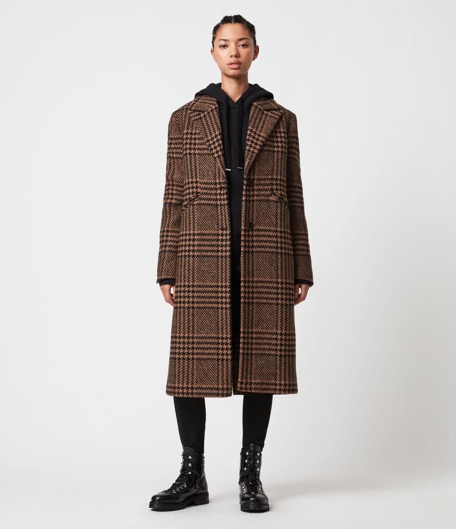 Womens Jette Wool Blend Check Coat (brown_black) - Image 8