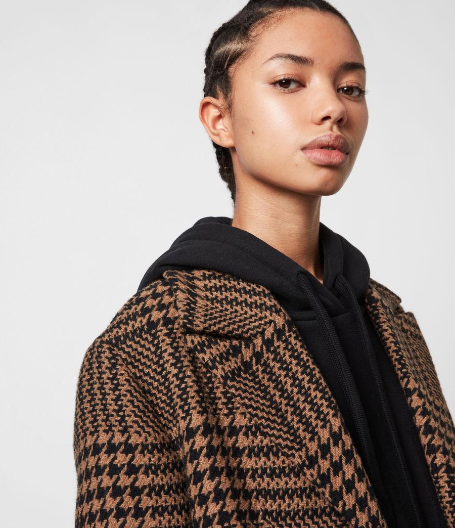 Womens Jette Wool Blend Check Coat (brown_black) - Image 9