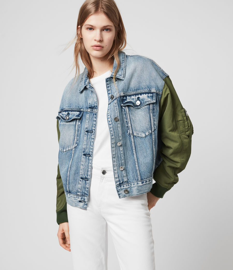 Womens Frankie Denim Bomber Jacket (indigo_blue) - Image 1