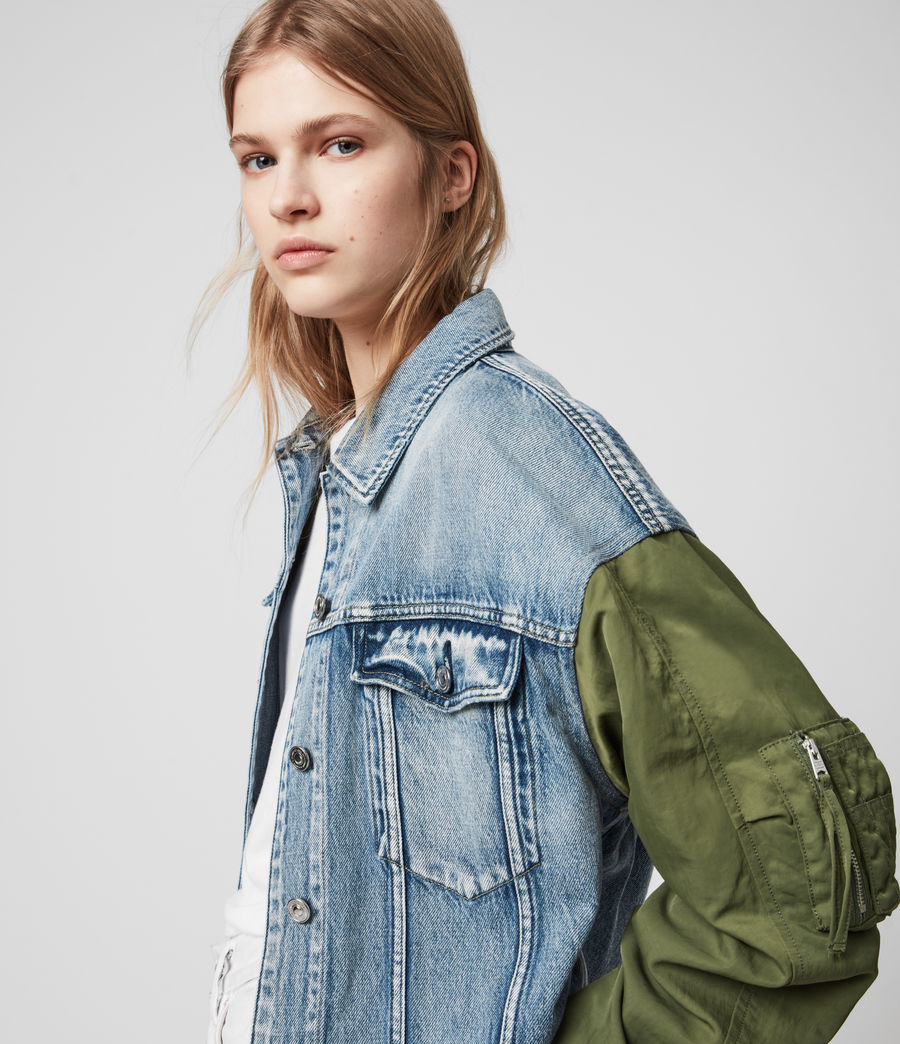 Womens Frankie Denim Bomber Jacket (indigo_blue) - Image 2