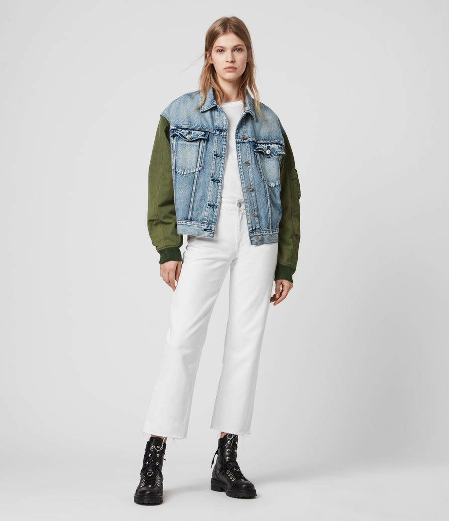 Womens Frankie Denim Bomber Jacket (indigo_blue) - Image 3