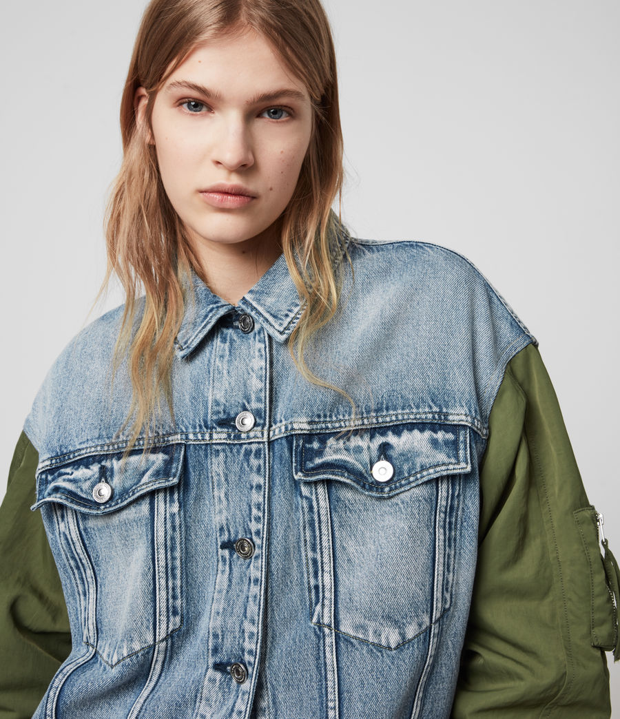 Womens Frankie Denim Bomber Jacket (indigo_blue) - Image 5