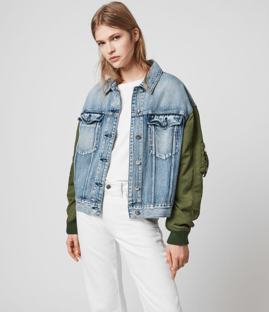 Womens Frankie Denim Bomber Jacket (indigo_blue) - Image 6