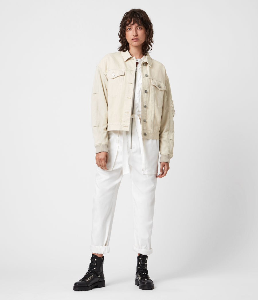 Womens Frankie Denim Bomber Jacket (oyster_white) - Image 1