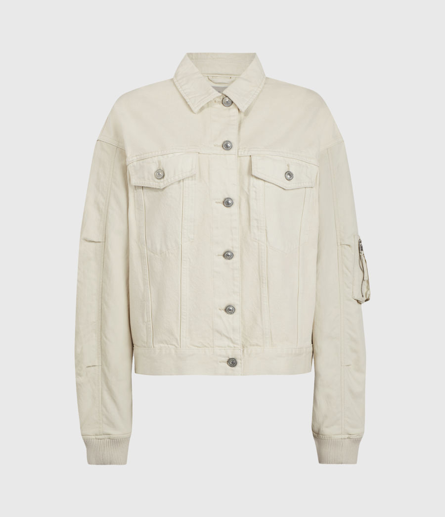 Women's Frankie Denim Bomber Jacket (oyster_white) - Image 2