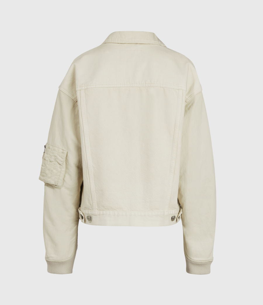 Women's Frankie Denim Bomber Jacket (oyster_white) - Image 3