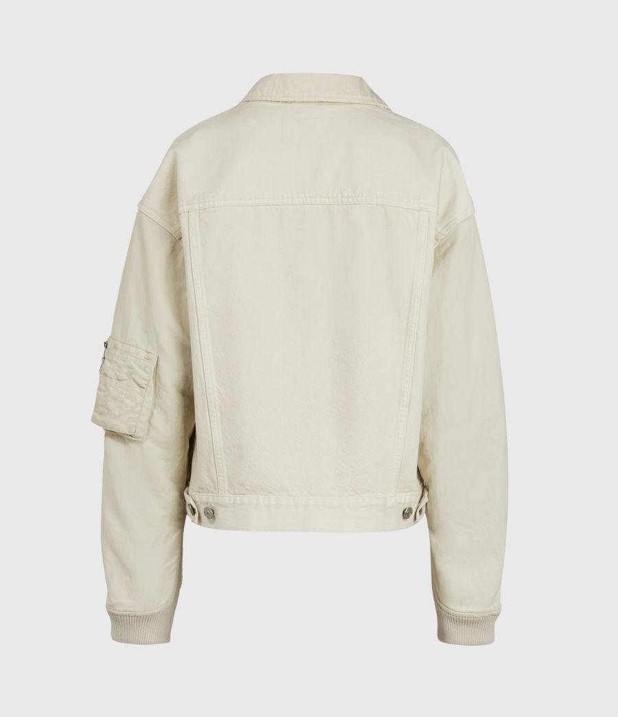 Womens Frankie Denim Bomber Jacket (oyster_white) - Image 3