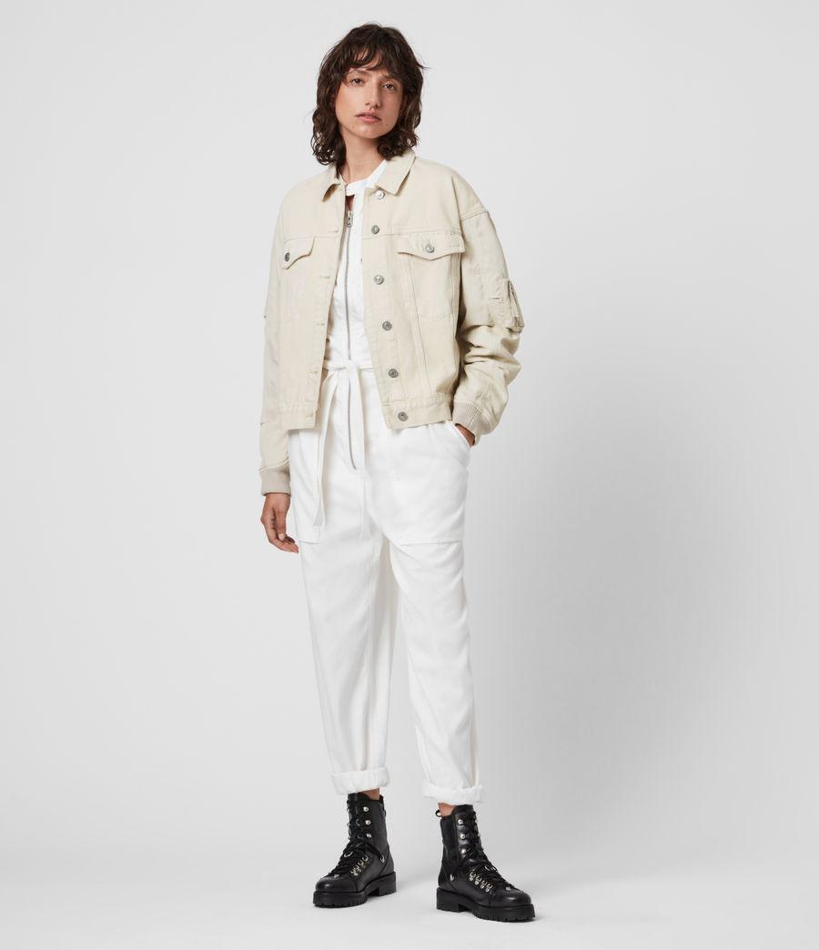 Womens Frankie Denim Bomber Jacket (oyster_white) - Image 4