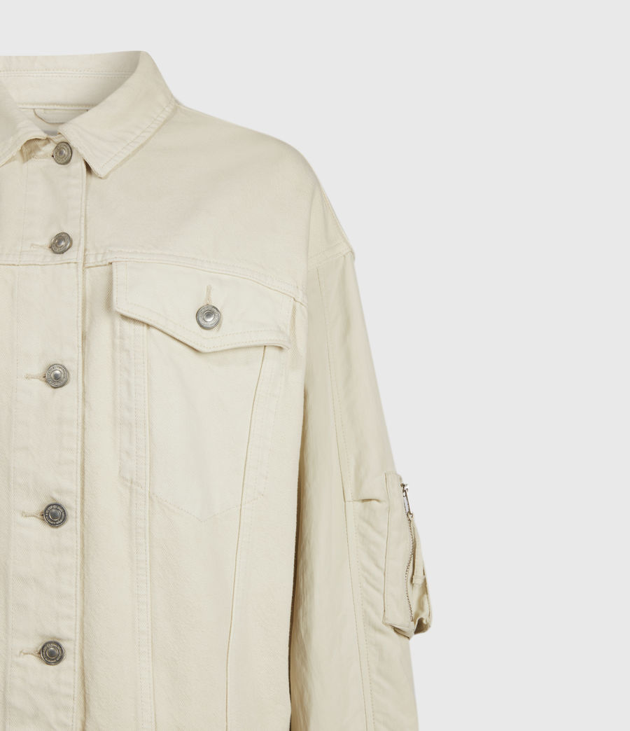 Women's Frankie Denim Bomber Jacket (oyster_white) - Image 6