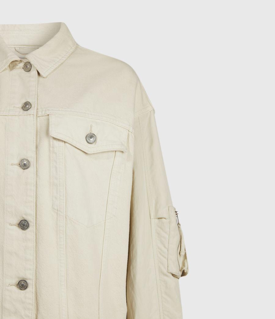 Womens Frankie Denim Bomber Jacket (oyster_white) - Image 6
