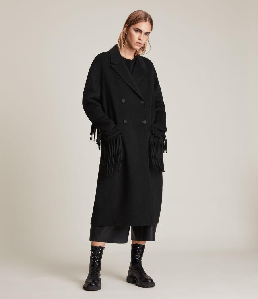 Women's Freya Wool Blend Coat (black) - Image 4