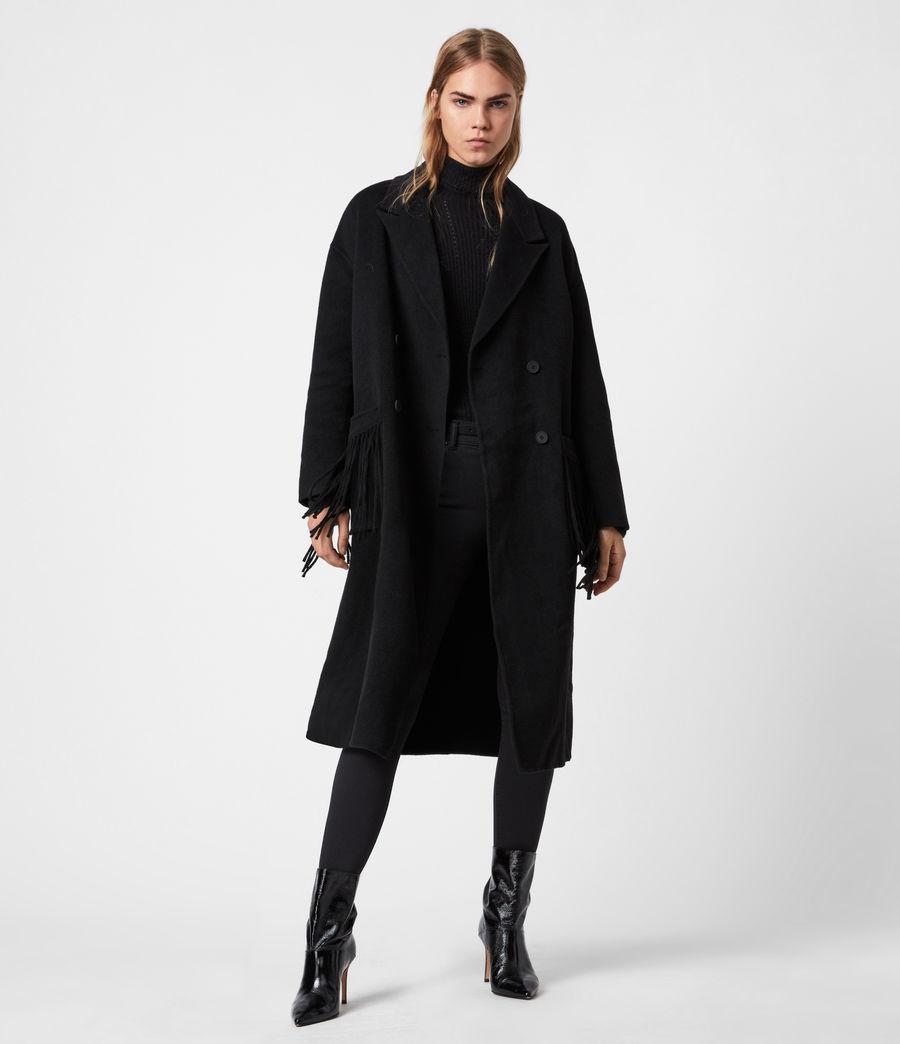 Women's Freya Wool Blend Coat (black) - Image 7