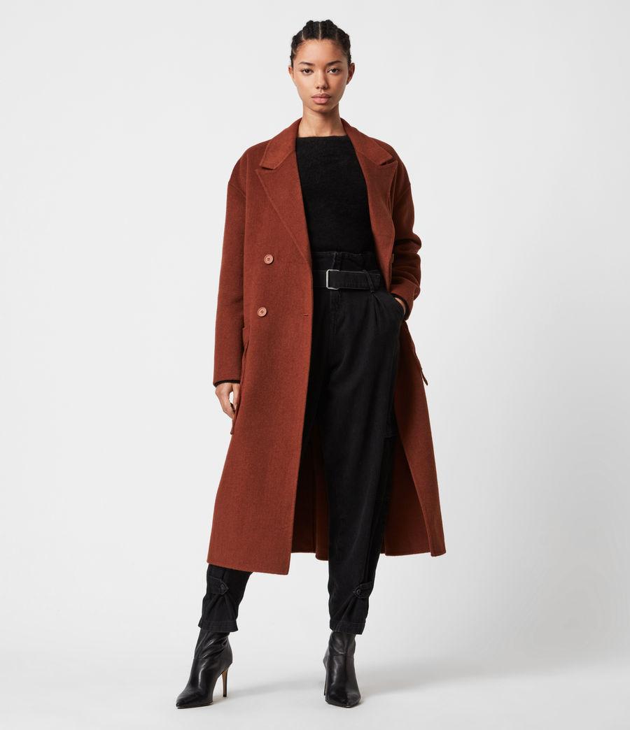 Women's Freya Wool Blend Coat (cinnamon_brown) - Image 4