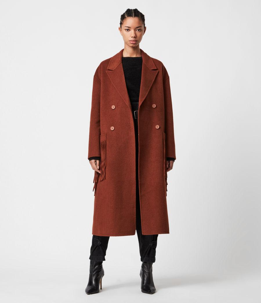 Women's Freya Wool Blend Coat (cinnamon_brown) - Image 7