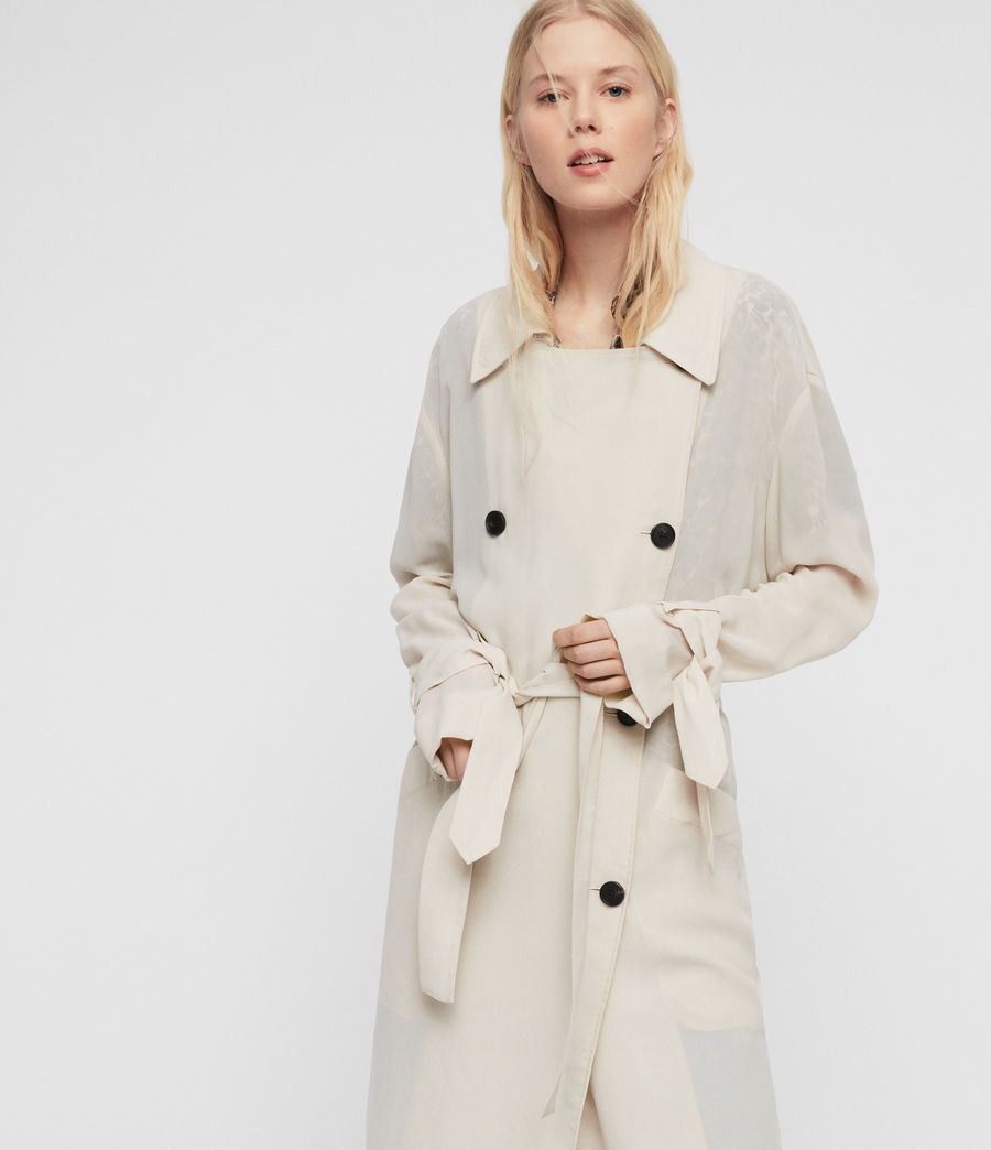 Womens Bria Trench Coat (oyster_white) - Image 3