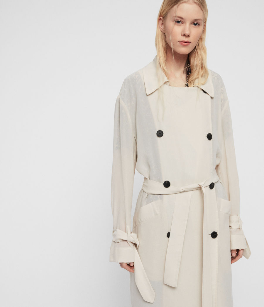 Women's Bria Trench Coat (oyster_white) - Image 4