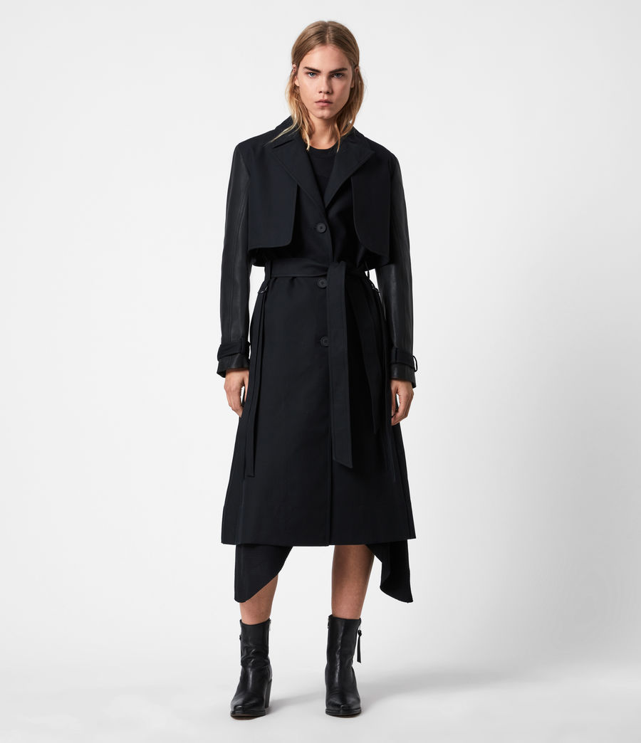 Womens Cade 2-In-1 Trench Coat (black) - Image 1