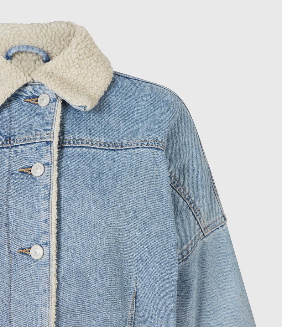 Women's Cropped Sherpa Lined Denim Jacket (light_indigo) - Image 4