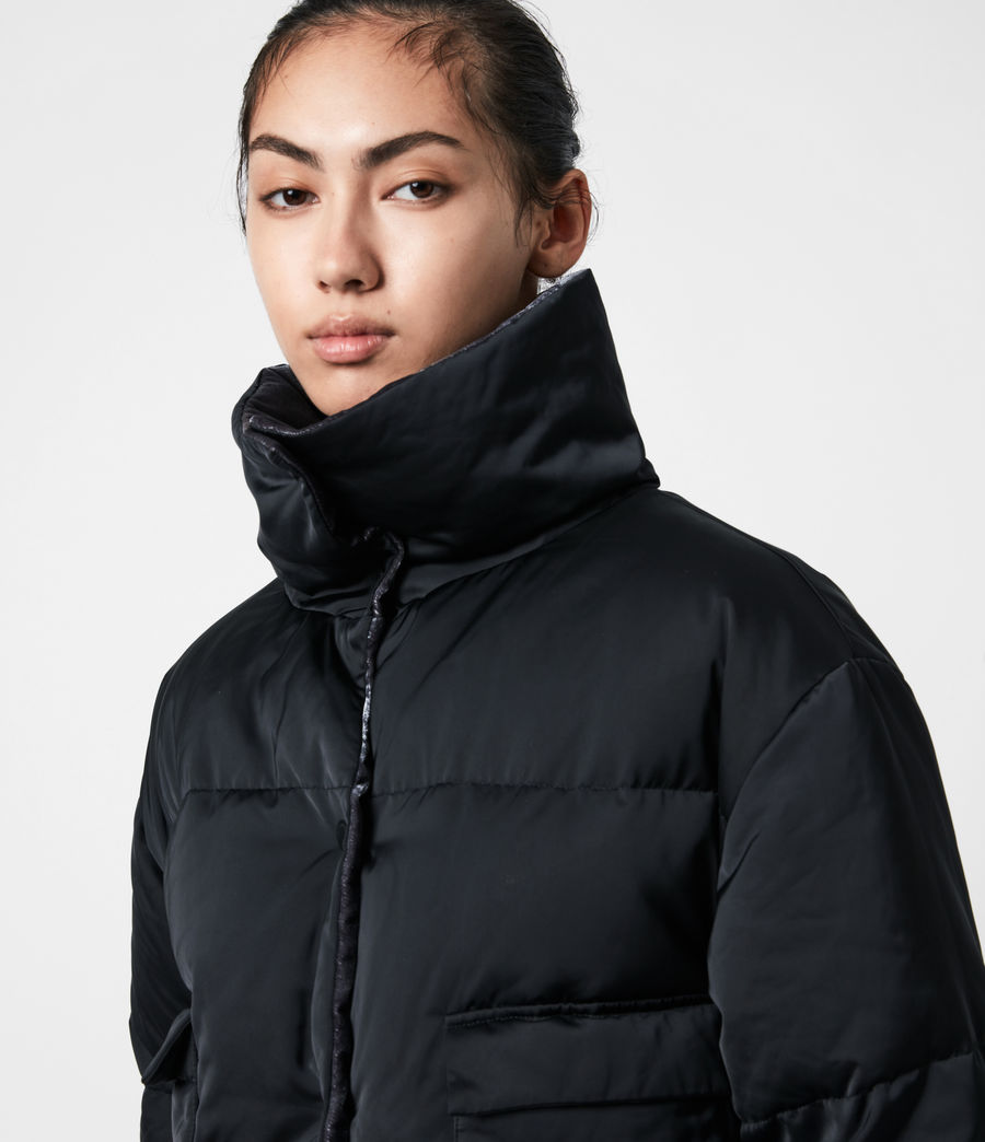 Women's Lacey Reversible Puffer Coat (midnight_blue) - Image 4