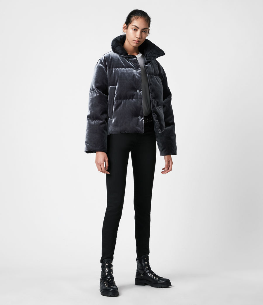 Women's Lacey Reversible Puffer Coat (midnight_blue) - Image 7