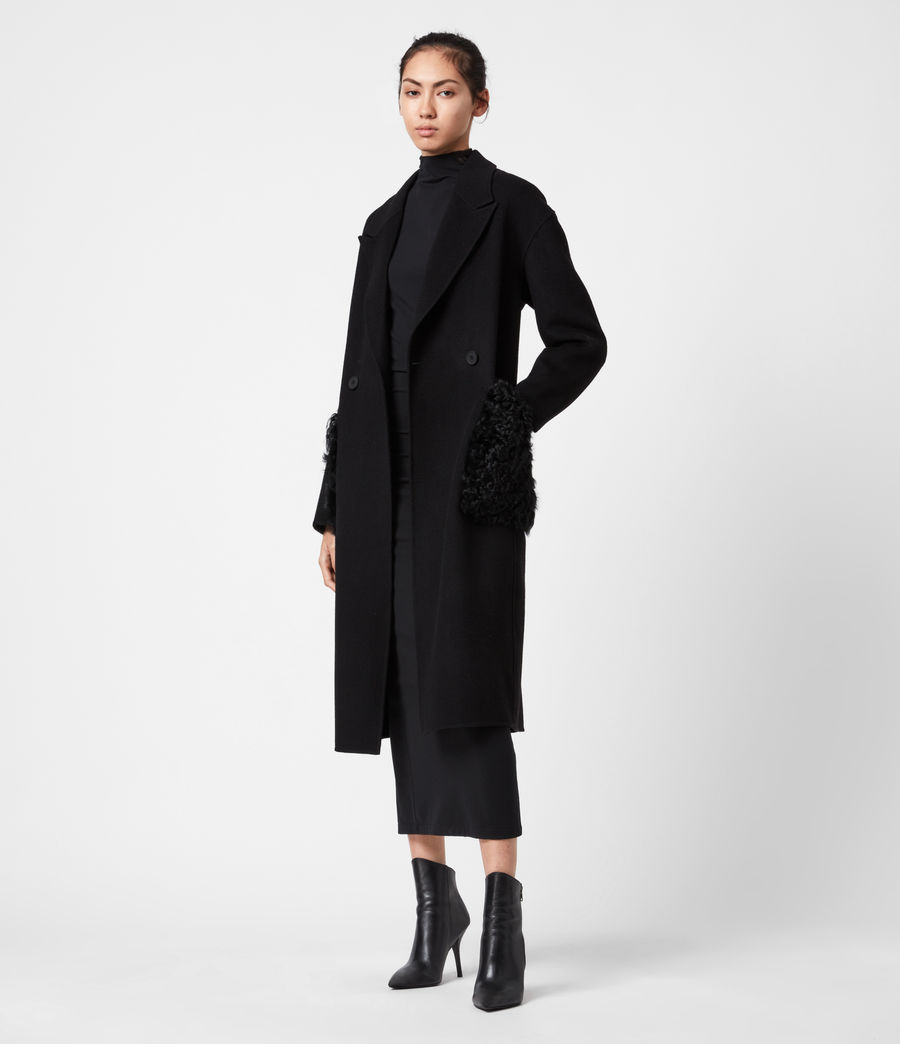 Womens Maddie Wool Blend Coat (black) - Image 1