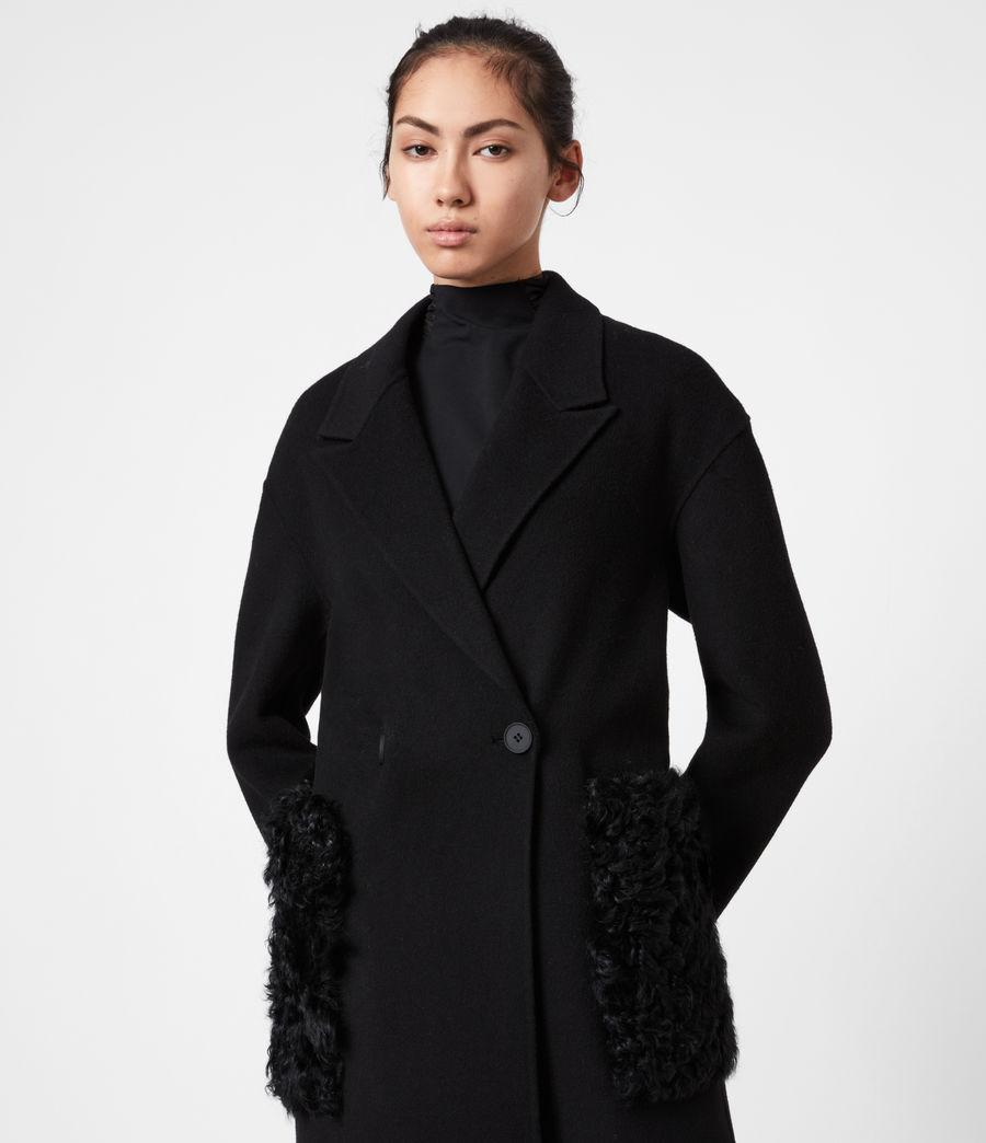 Womens Maddie Wool Blend Coat (black) - Image 4