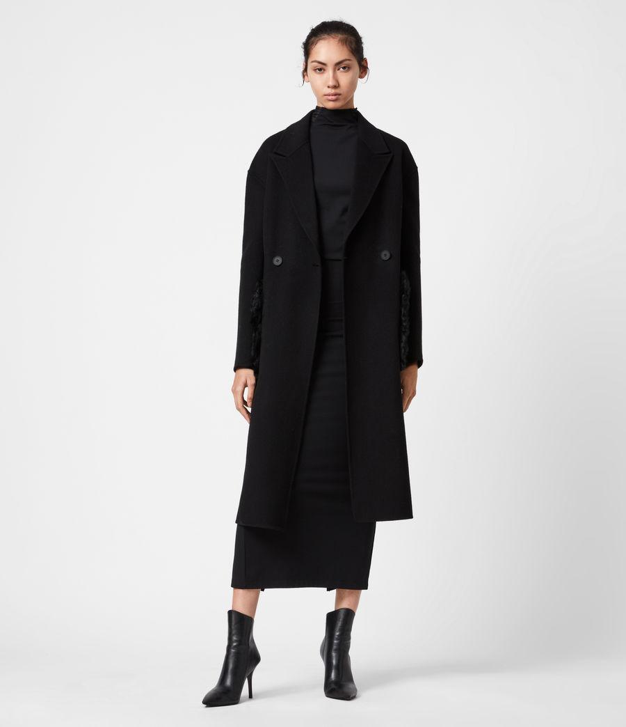 Womens Maddie Wool Blend Coat (black) - Image 7