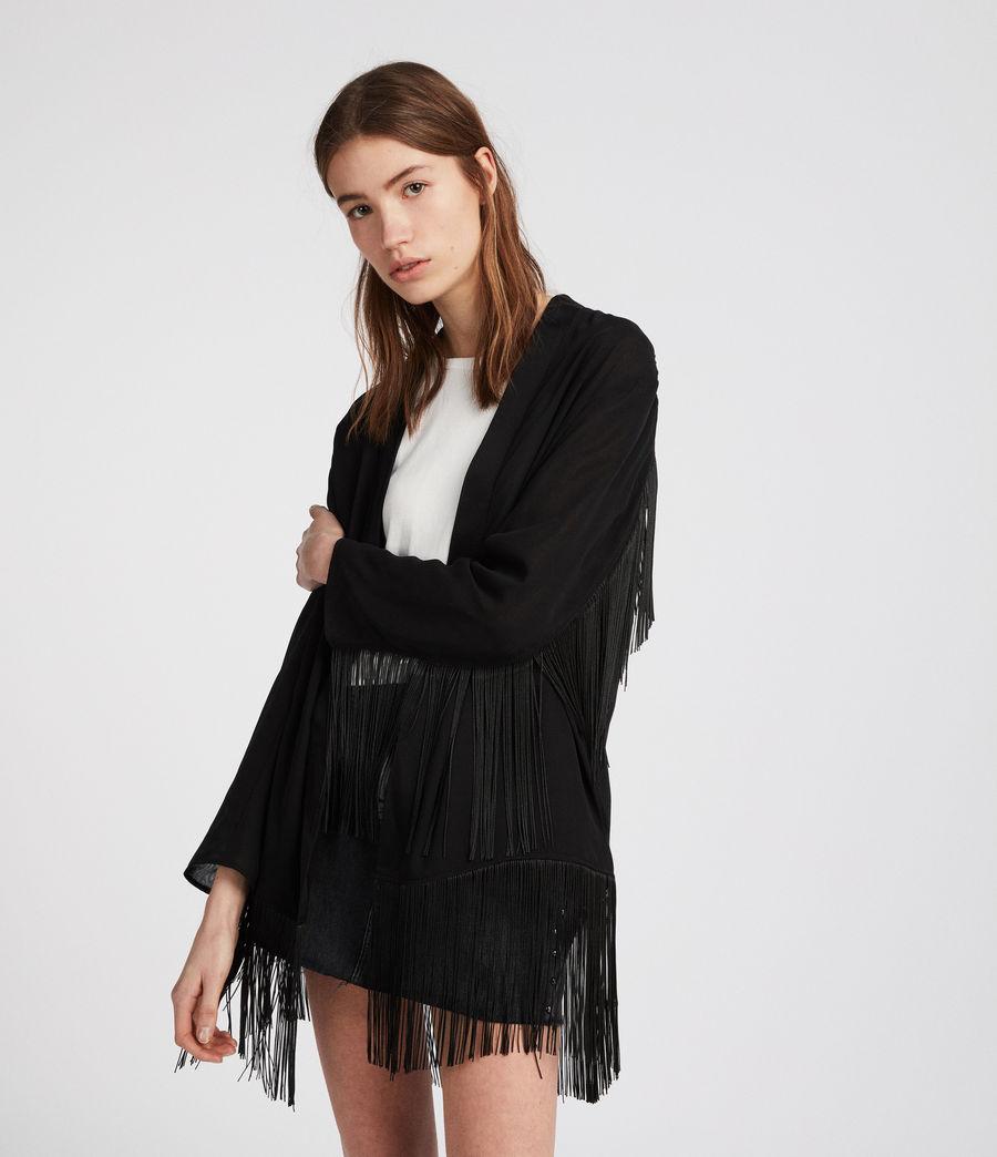Womens Tassel Kimono (black) - Image 2